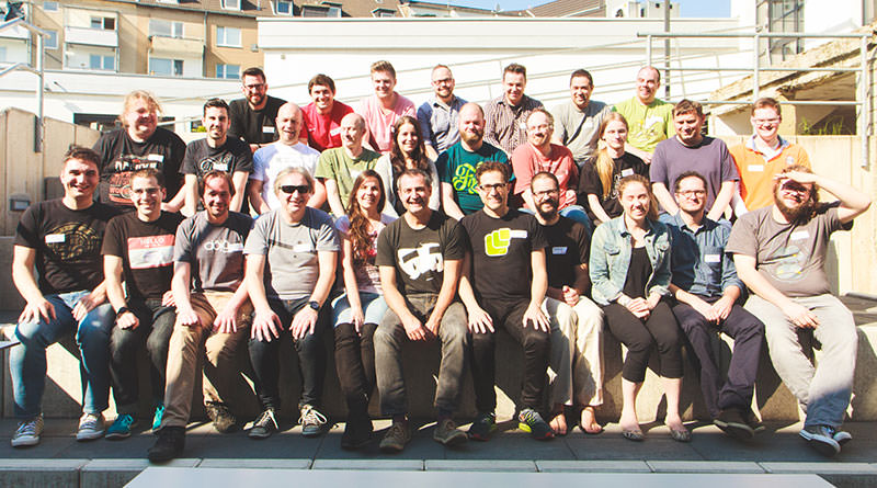 Photo of attendees at the IndieWebCamp Düsseldorf 2016