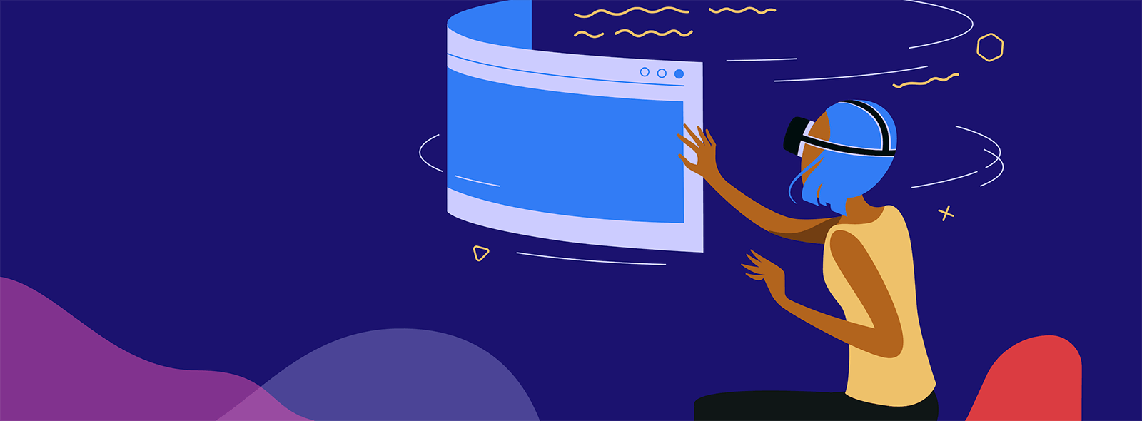 Illustration showing a woman using a VR headset navigating on a bending screen