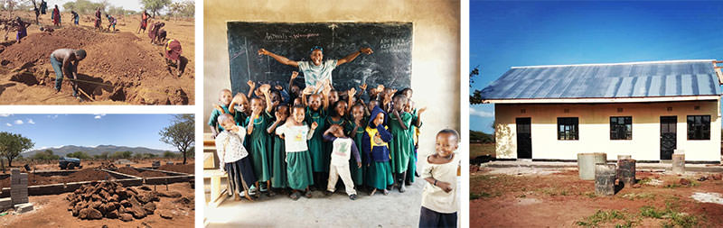 A collage of photos showing the built process of the first classroom and happy children in the middle picture