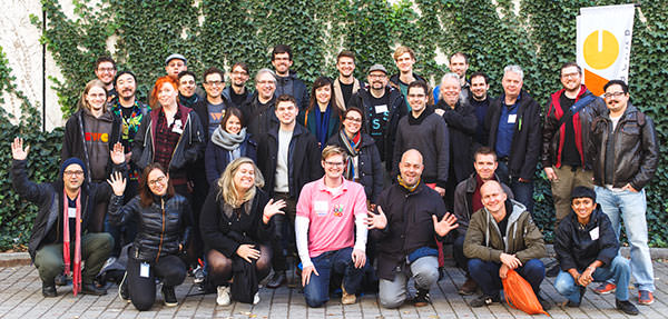 Photo showing all attendees at the IndieWebCamp in Berlin