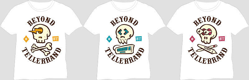 An image showing all three versions of the attendee's t-shirts for Berlin 2018
