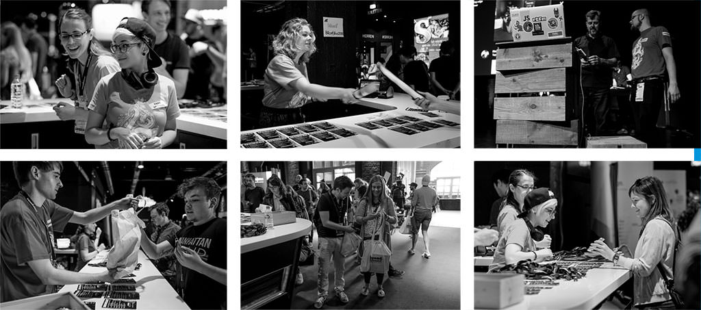 A mix of smaller photos showing the volunteers at their work.