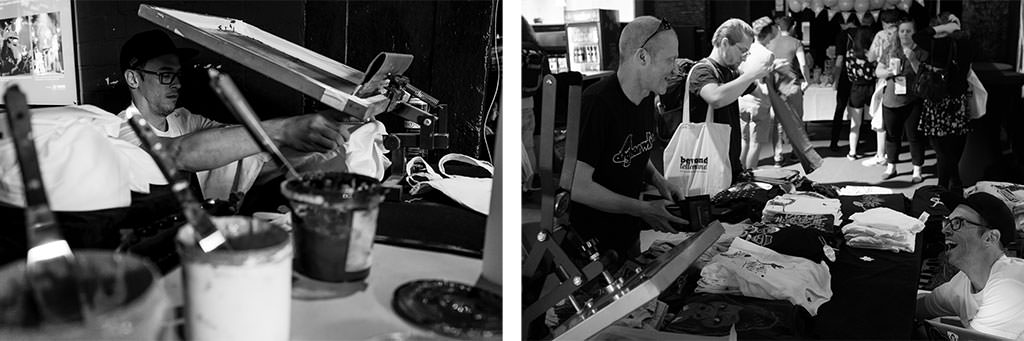Two photos showing Holger Lamers during his live silk screen printing at beyond tellerrand