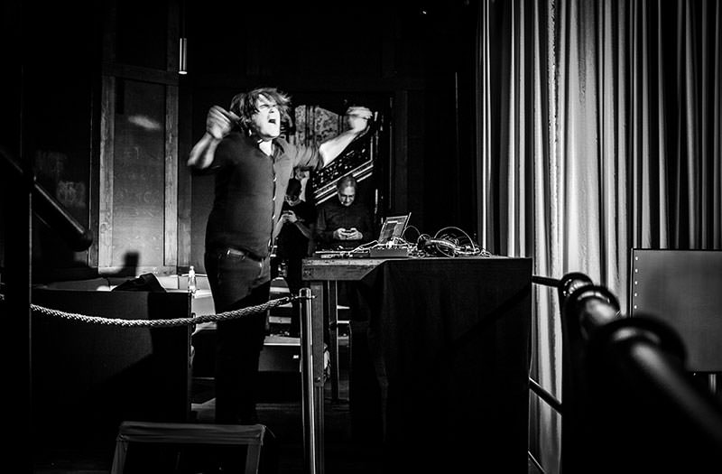 A photo of Tobi Lessnow in action, creating his sound for the event