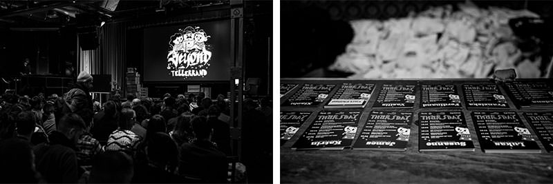Two photos next to each other in a collage. The one left showing the t-shirt design of this event. Right are some of the assets of the design used on the name badges.