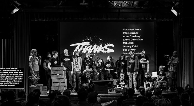 Photo with all volunteers on stage an me thanking them.