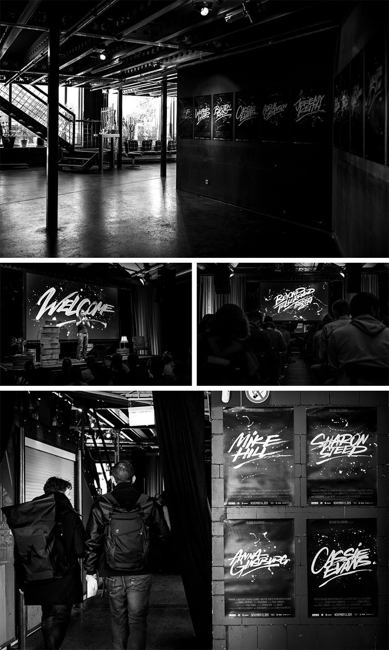 A collage of four photos showing the artwork by rob draper in several situations. On stage and in the entrance area on posters