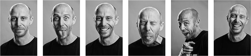 This image shows a series of portrait photos of Mike Hill taken by Norman Posselt.
