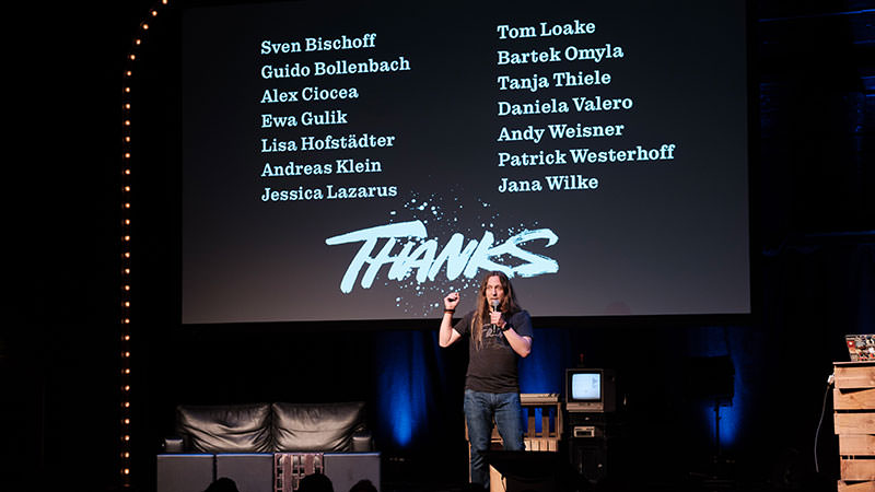 Photo showing me, thanking all volunteers at the end of the show.